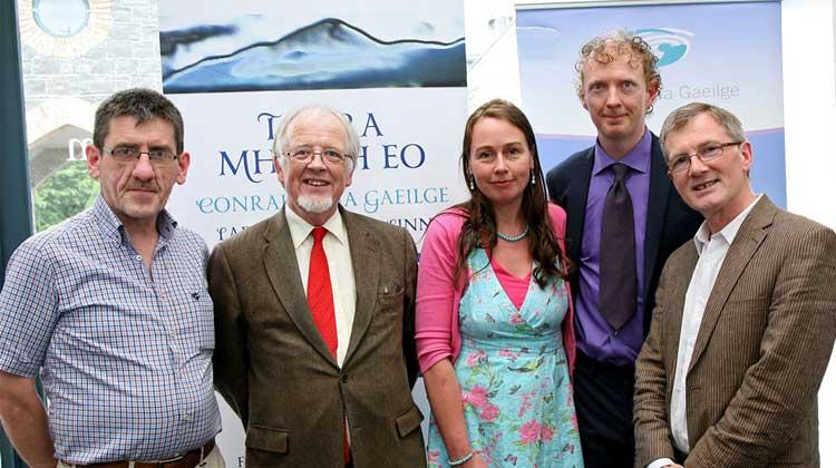"""At the launch of """"Logainmneacha Mhaigh Eo"""" in the National Museum of Ireland in Turlough Park, Castlebar, Co Mayo were from left: Máirtín Ó Maicín, Conradh na Gaeilge, Nollaig Ó Muraíle, NUIG, Clodahh Mhic Gabhann, Fiachra Mac Gabhann, author """"Logainmneacha Mhaigh Eo"""", and Colmán Ó Raghallaigh, Togra Mhaigh Eo. Photo Joy Heverin"""