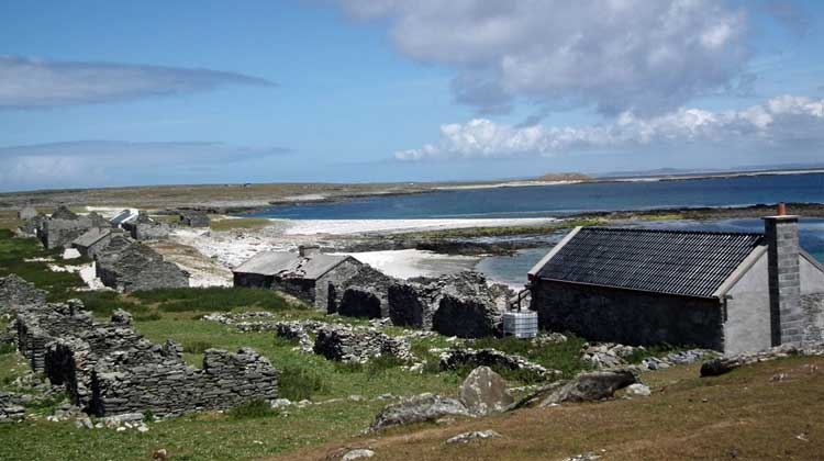 The deserted village on Inshkea South. Photo: Anthony Hickey