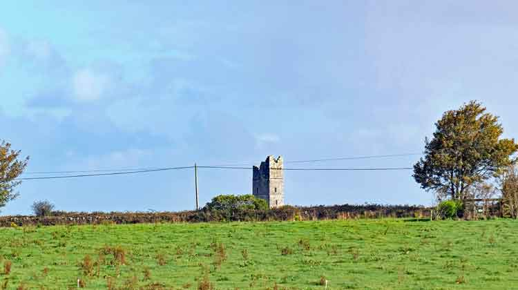 Moyne Abbey tower is visible along the Ballina to Killala Greenway. Photo: Anthony Hickey