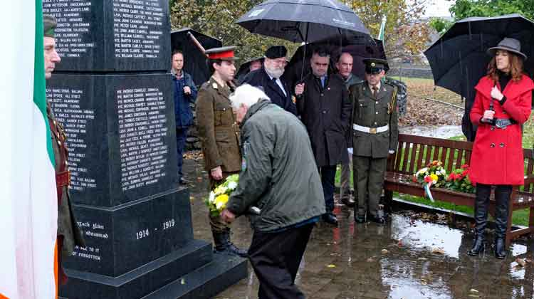 PJ Clarke, Chairman of The Ballina Comrades of The Great War 1914-1919, lays a wreath at the Ballina War Memorial on Remembrance Sunday. Photo: Anthony Hickey