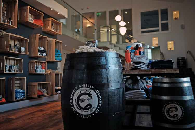 The Connacht Whiskey Company welcomes visitors to its retail store where you can buy its Strawboys Poitín, Strawboys Irish Vodka and Conncullin Irish Gin along with many locally produced gifts, books and craft produce. Photo: Anthony Hickey