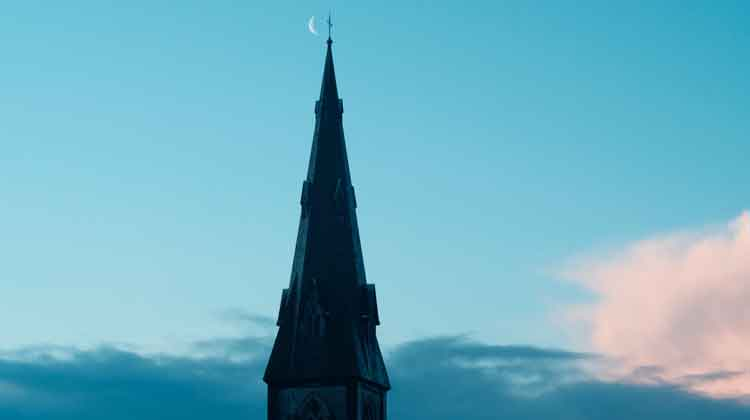 The Crescent Moon over St. Muredach's Cathedral, Ballina, Co Mayo on January 31st, 2019. Photo: Anthony Hickey