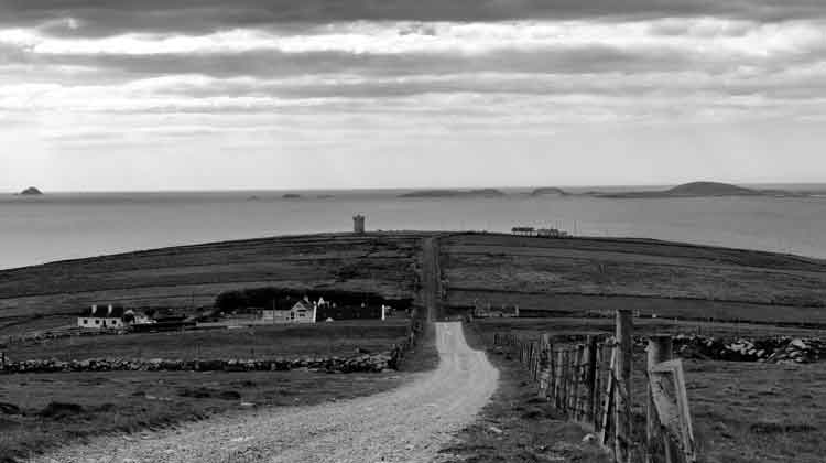 Looking out over Glosh, the Mullet Peninsula, Co Mayo, towards the Inishkea Islands. Photo: Anthony Hickey
