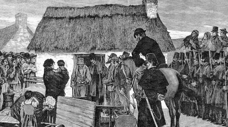 An eviction scene in Ireland in the 1890s as described in the book, 'Struggle and Strife on a Mayo estate, 1833–1903: The Nolans of Logboy and Their Tenants'.