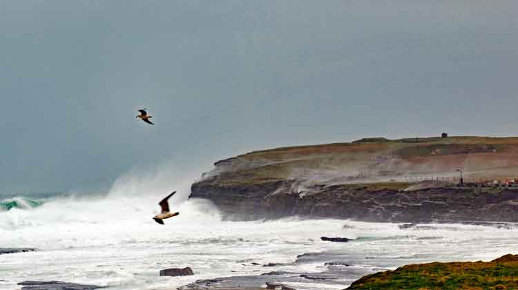 Waves lash Downpatrick Head on Mayo's Wild Atlantic Way during a winter storm. Photo: Anthony Hickey