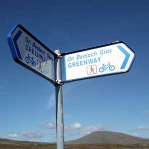 Sign-post on The Great Western Greenway, County Mayo. Photo: Anthony Hickey