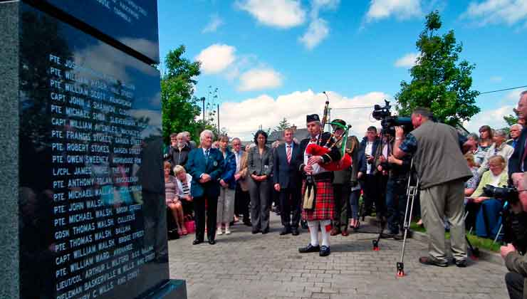 "Pictured on June 20th 2015 at the unveiling of the Great War Remembrance Monument at Green Park in Ballina, were (L/R): PJ Clarke, Chairman of the Ballina Comrades of the Great War Committee, Cecile Dejardain, Athis Mons, An Taoiseach Enda Kenny and piper Sean Lavin who played ""A Lament for the Dead"". Photo: Anthony Hickey"