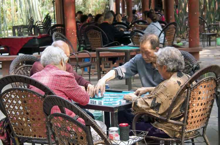 Seniors playing Mahjong in Wangjiang Park , Chengdu, China. Photo: Anthony Hickey