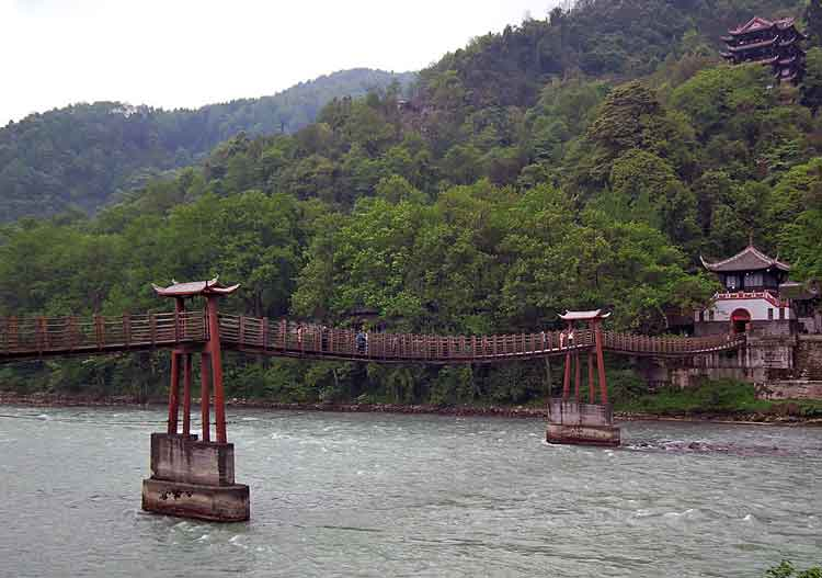 The suspension bridge over the Minjiang River at the Dujiangyan irrigation system in Sichuan, China. The Dujiangyan irrigation system dates back to 3rd century B.C. and is still in use. Photo: Anthony Hickey