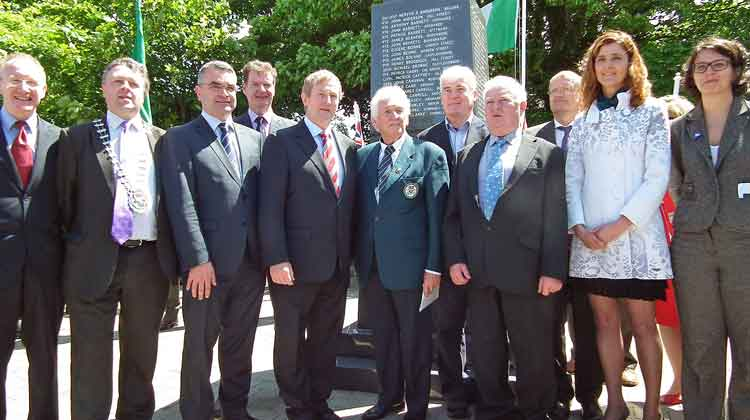 Pictured at the unveiling of The Great War Remembrance Monument in the Green Park, Ballina, on Saturday June 20th 2015, with An Taoiseach Enda Kenny TD, were Cllr Damian Ryan, Cathaoirleach Mayo County Council, Dara Calleary TD, Paul Benson, Director of Services Mayo County Council, Mr Kenny, PJ Clarke, Chairman of the Ballina Comrades of the Great War Committee, Johnny O'Malley, Ballina Comrades of the Great War Committee, Cllr Gerry Ginty, Cathaoirlach Ballina Municipal District, Michelle Mulherin TD, and Cecile Dejardain, Athis Mons. Photo: Anthony Hickey