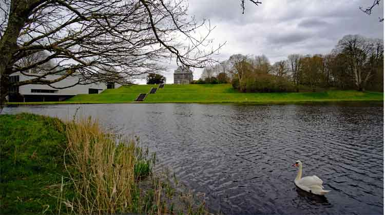 Swan Lake: Turlough Park and the National Museum of Ireland Country Life exhibition building overlooking the lake in the grounds of the estate, near the Castlebar to Turlough Greenway trailhead. Photo: Anthony Hickey