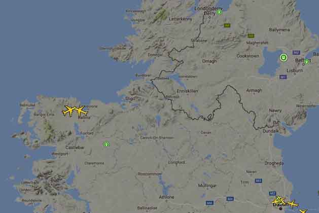 A screenshot from Planefinder flight tracker app of the flight-paths of AzurAir Boeing 767-300 and Quatar Airways 777-200LR flying over North Mayo on Wednesday, September 21, 2016, at 22.05GMT.