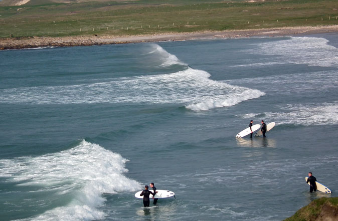 Surfing on beautiful and remote Belderra beach, at Cross, in Erris, Co Mayo. Photo: Anthony Hickey