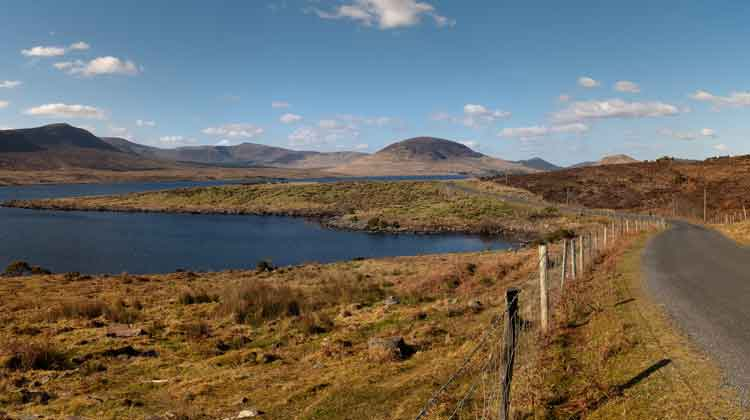 Looking towards Slíabhraon (345m) and the cone-shaped Lettertrask (279m) in the Nephin Beg mountain range along the road to Srahmore. Photo: Anthony Hickey