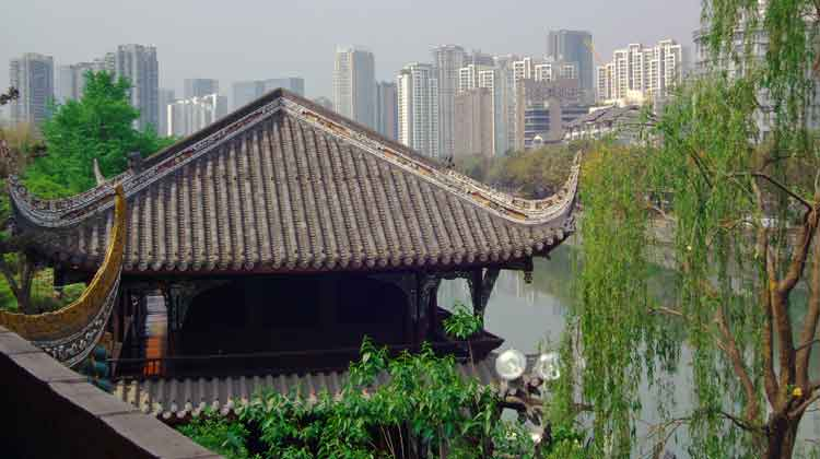 Looking out over Chengdu, China, from the top of River View Tower in the city's Wangjianglou Park. Photo: Anthony Hickey