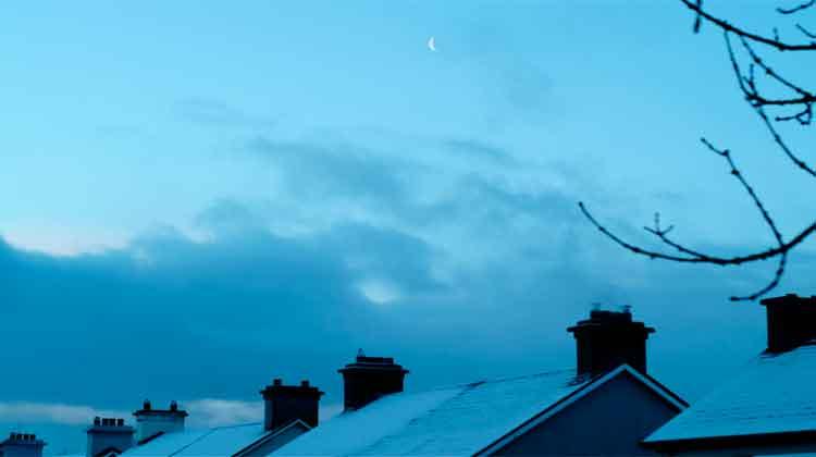 The Crescent Moon over Humbert Street, Ballina, Co Mayo on January 31st, 2019. Photo: Anthony Hickey