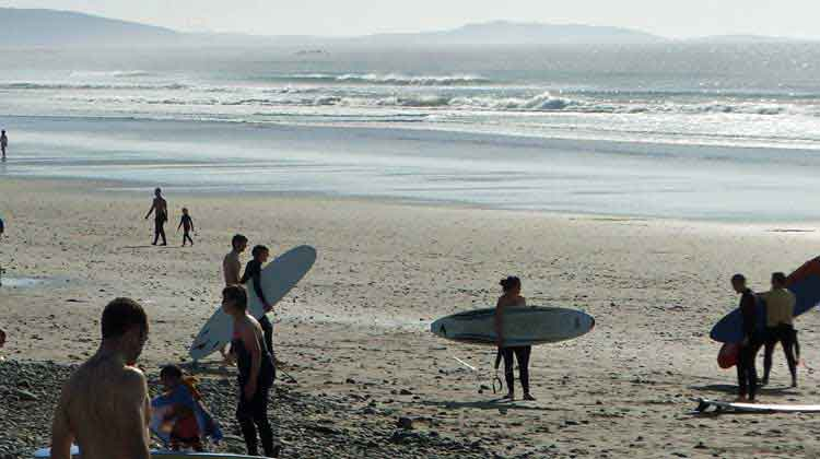 Carrowinskey strand is one of the most popular surfing beaches in Co Mayo. Photo: Anthony Hickey