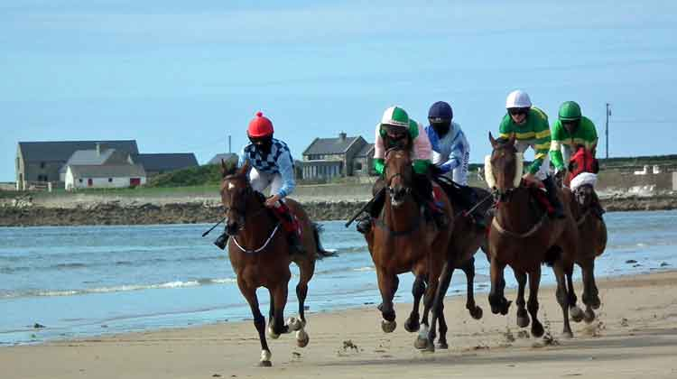 The annual horse racing on Doolough Beach, near Geesala, Co Mayo, is the highlight of the Geesala Festival every August. The horse racing takes place at low tide and attracts visitors from all over Ireland. Photo: Anthony Hickey