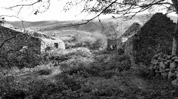 The ghostly ruins of the deserted village at Byhalla, Attymass, Co Mayo. Photo: Anthony Hickey