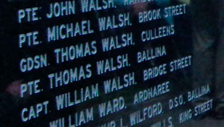 Pte. Thomas Walsh remembered on the Great War Remembrance Monument at Green Park in Ballina. Photo: Anthony Hickey