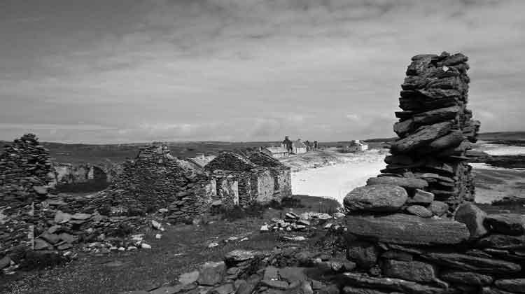Some of the abandoned houses on Inishkea South. Photo: Anthony Hickey