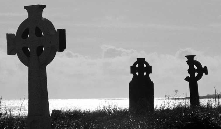 Evocative of emigration and loss, Cross Abbey graveyard, near Belmullet, is in a beautiful location overlooking the North Atlantic, and a number of islands, including Inishglora of the Children of Lir fame. Photo: Anthony Hickey