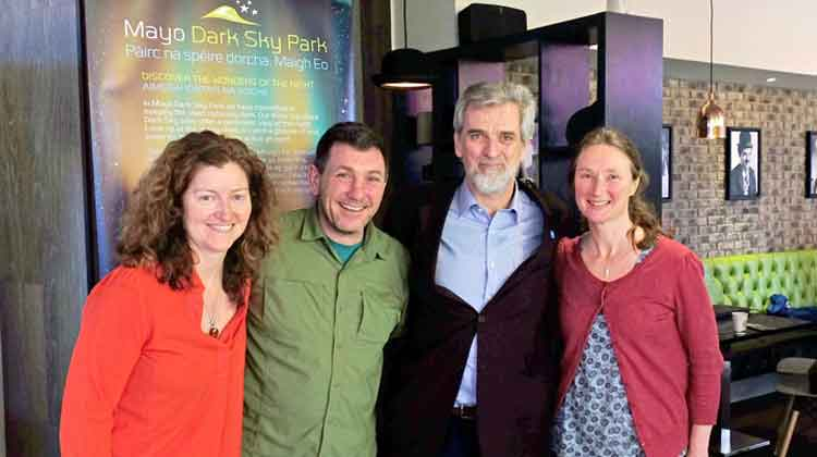 At the Protecting the Dark Sky Assets of Mayo held in the K Cinema, Westport, were (l/r): Georgia MacMillan, Mayo Dark Skies Community Group, Ged Dowling, Mayo Dark Skies Community Group, Brian Espey, Associate Professor in Astrophysics in the School of Physics, Trinity College Dublin, and Sue Callaghan, District Conservation Officer with National Parks and Wildlife and manager Ballycroy National Park. Photo: Anthony Hickey
