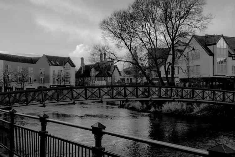 A pedestrian bridge over the Garavogue River at Rockwell Parade in Sligo. Photo: Anthony Hickey