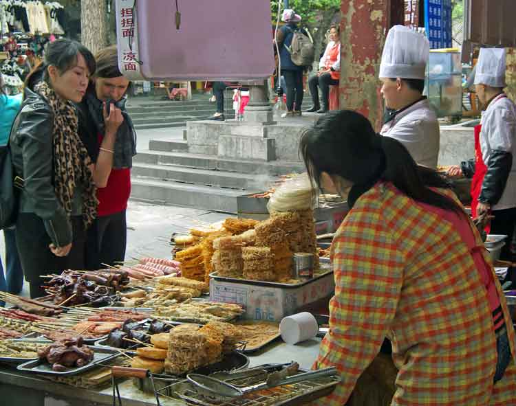 A street food stall in Dujiangyan, Sichuan, China. Photo: Anthony Hickey