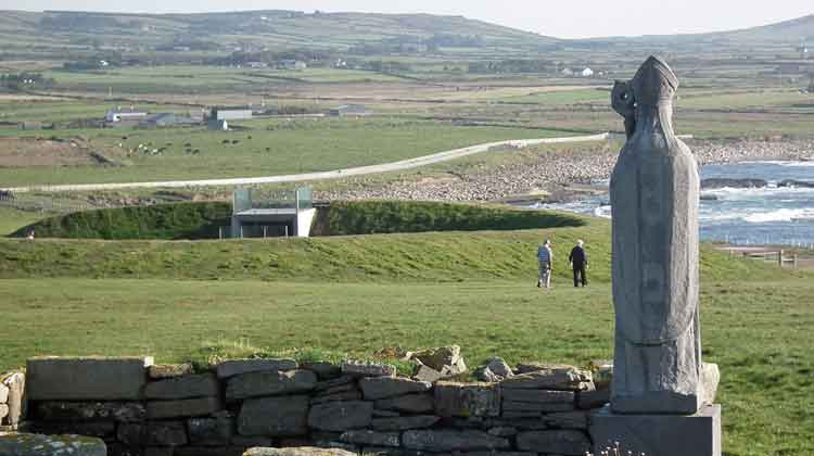 The statue of St. Patrick at Downpatrick Head overlooking the blowhole berm and viewing platform. Photo: Anthony Hickey