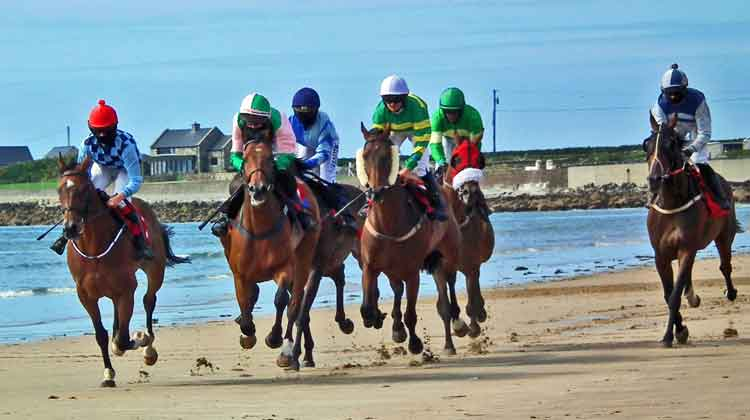 One of the many exciting horse races that took place on Doolough beach near Geesala in Co Mayo on August 16th 2015. Photo: Anthony Hickey