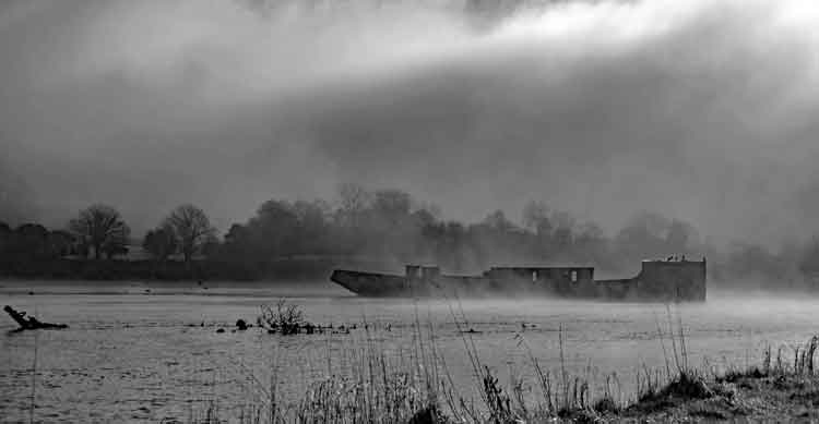 Fog rolls in over the Creteboom wreck on the River Moy in Belleek Wood, Ballina, Co Mayo. Photo: Anthony Hickey