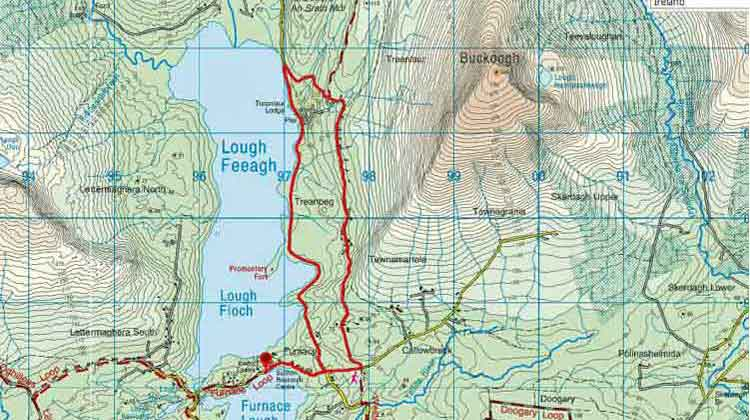 The route of my looped walk at Lough Feeagh marked in red. Credit: Viewranger / OSI