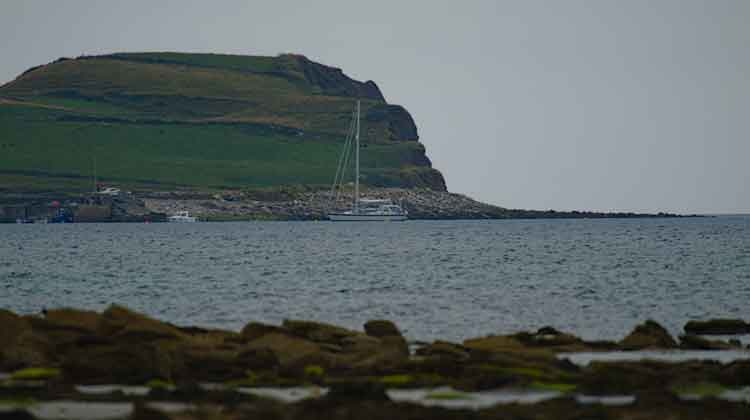 The Swedish registered yacht, Altair AF Skaftoe, anchored at Kilcummin harbour, Co Mayo, (21.7.2018) on its trip south down the West coast of Ireland. Photo: Anthony Hickey