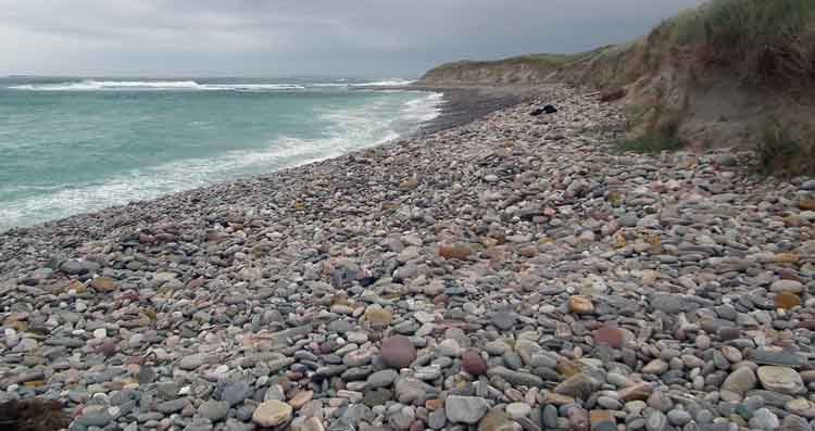 The rock-strewn west facing beach at Elly Bay on the Mullet in Co Mayo. Photo: Anthony Hickey