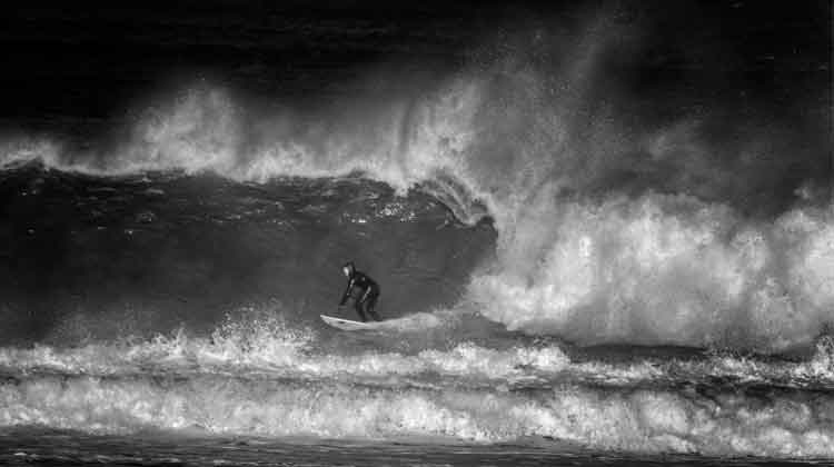 Surfing Enniscrone's big wave, February 12th 2018. Photo: Anthony Hickey