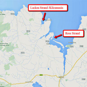 Ross Strand, Lacken Strand and Kilcummin Strand. Image: Google Maps