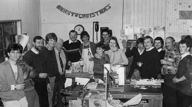 Leitrim Observer staff pictured at Christmas 1986. Front (l-r): Fergus Shiel, Donal Fox, Butch Doyle, Anthony Hickey, Eugene Phelan RIP, Mickey Kelly, Frankie Smith, Mary Daly, John Healy, Mary Glancy, Dominic Duignan, Pat Dunne, Brendan Leyden, Leo Standford and Peter Tully. Photo: Willie Donnellan