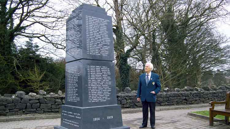 Ballina historian, PJ Clarke, beside the First World War Memorial Monument in Ballina, Co Mayo, commemorating those soldiers from the town and district who died in the Great War. Photo: Anthony Hickey