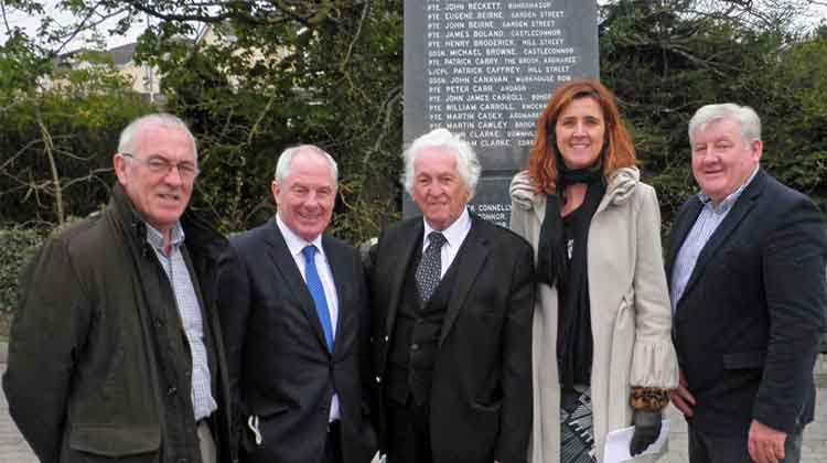 At the the Ballina First World War Memorial were (l-r): Cllr Seamus Weir (Independent), Michael Ring TD, Minister of State for Tourism and Sport, PJ Clarke, Ballina historian, and Comrades of the Great War Ballina; Deputy Michelle Mulherin (Fine Gael), and Cllr John O'Hara (Fine Gael).