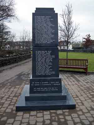 The Great War Memorial in Ballina, Co Mayo, is inscribed with the names of the 182 men from the district who died in World War Co while serving with the British Army. Photo: Anthony Hickey