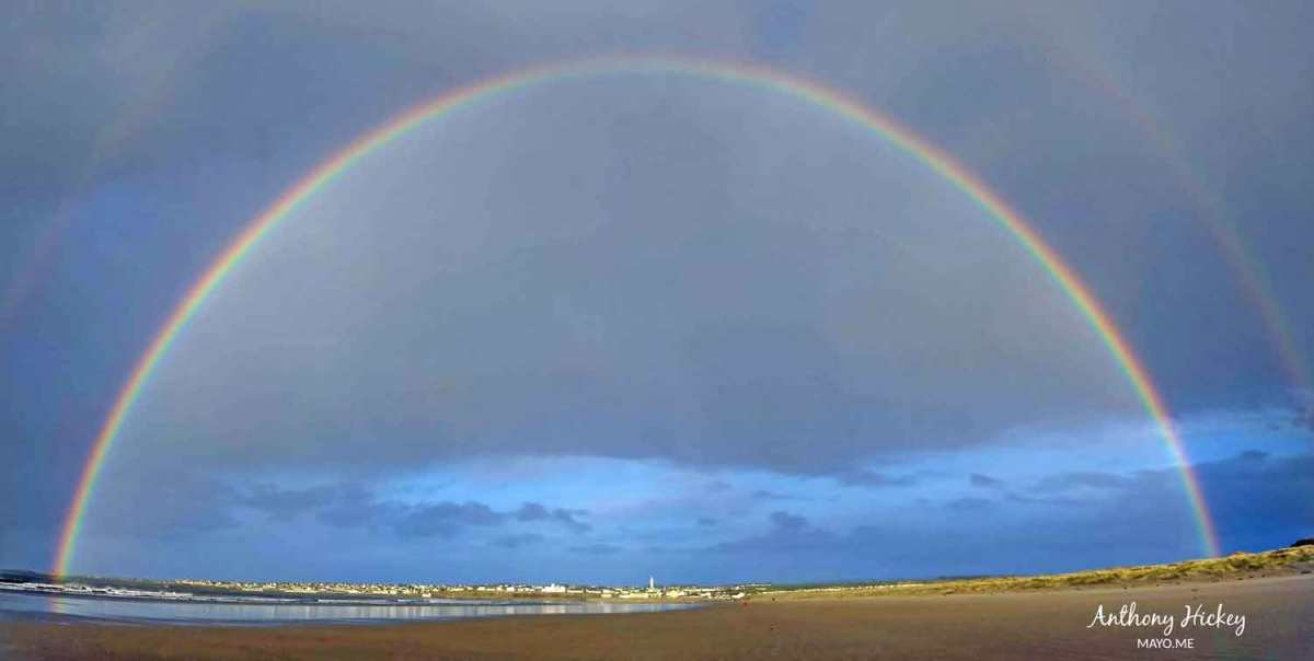 A double-rainbow over Enniscrone beach, Saturday, March 14th, 2020. Photo: Anthony Hickey
