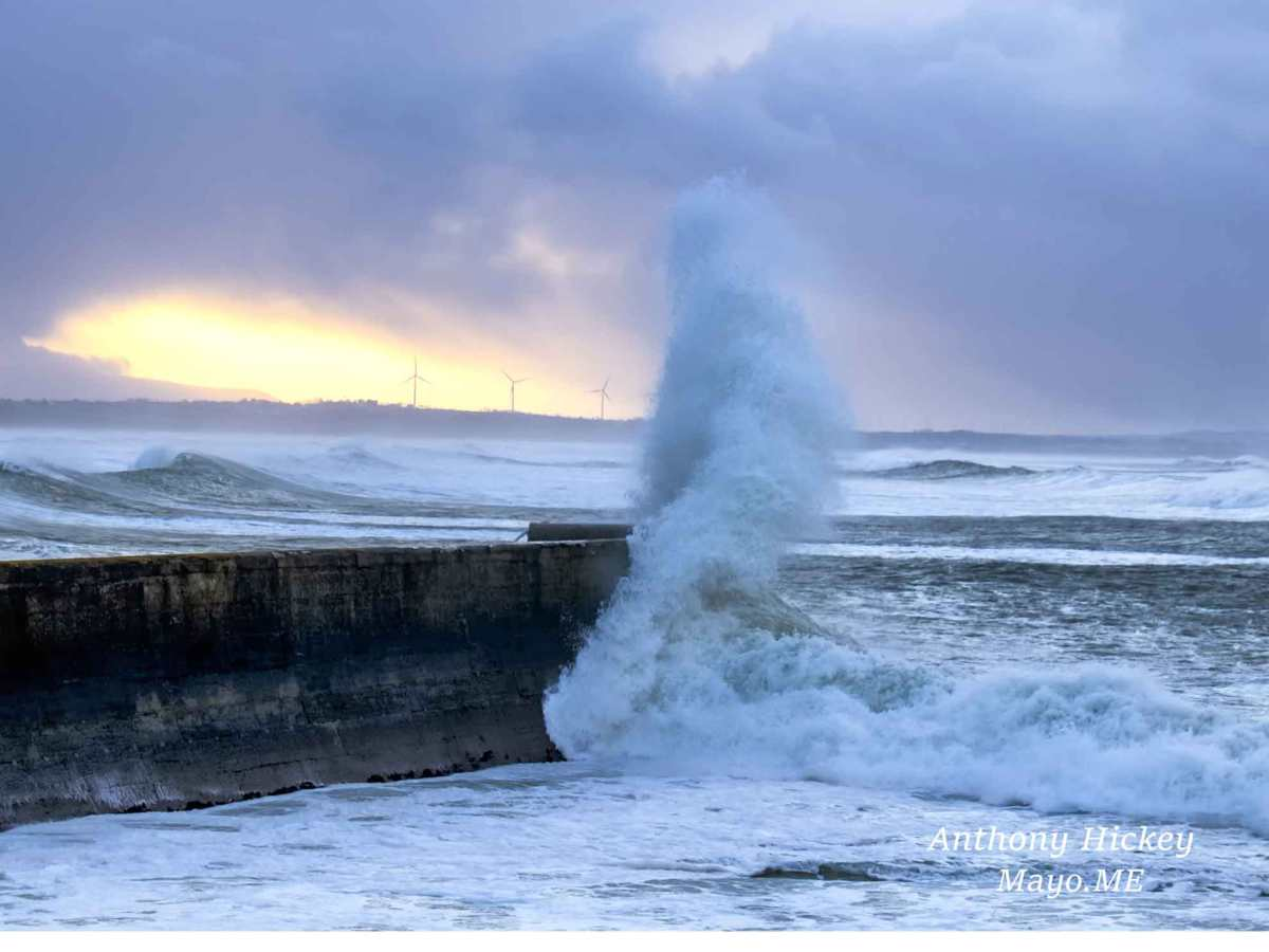 A wave crashing over Enniscrone Pier during storm Ciara, February 2020. Photo: Anthony Hickey