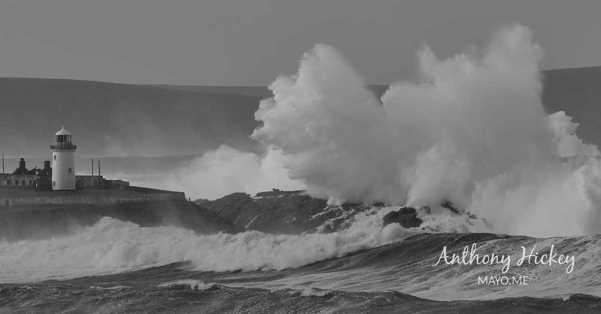 Waves driven by Storm Bella dwarf Broadhaven Lighthouse. Photo: Anthony Hickey