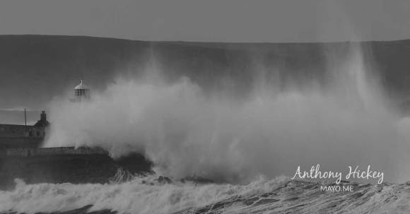 Swirling surf cloaks Broadhaven Lighthouse during Storm Bella. Photo: Anthony Hickey