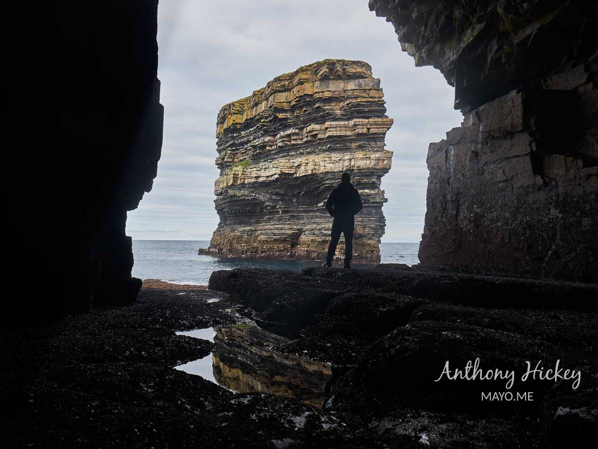 Dun Bríste from the cave under Downpatrick Head. Photo: Anthony Hickey