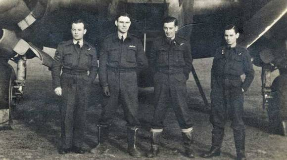 Sergeant James Dunne pictured with his fellow crew members in front of a Lockheed Ventura at RAF Feltwell, Norfolk. They all died when the Ventura crashed into the sea when it was hit by enemy flak on the on 22nd January 1943 on a mission to attack a German airfield near Cherbourg. Left to Right: James Dunne - (23) Wireless Operator/Air Gunner (from Claremorris); Norman Ernest Powell - (21) Pilot (from Nottingham); Peter Arnold Nodes - (22) Navigator/Observer (from Paddington); Stanley John Newton - (19) Air Gunner (from Putney). Photo: Courtesy Dunne family.